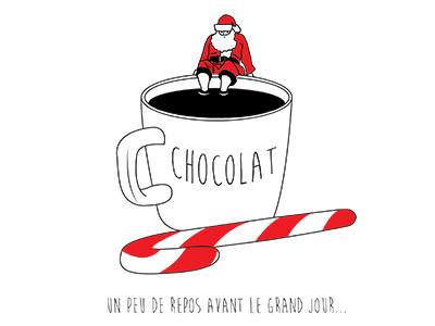 visuel tasse de chocolat avec père noël pour objet pub